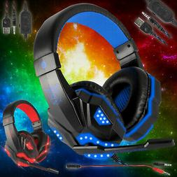 3.5mm Gaming Headset Mic LED Headphone Stereo Bass Surround