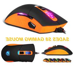 SADES S8 Gaming Mouse Backlit USB Wired 2500 DPI 8 Button fo