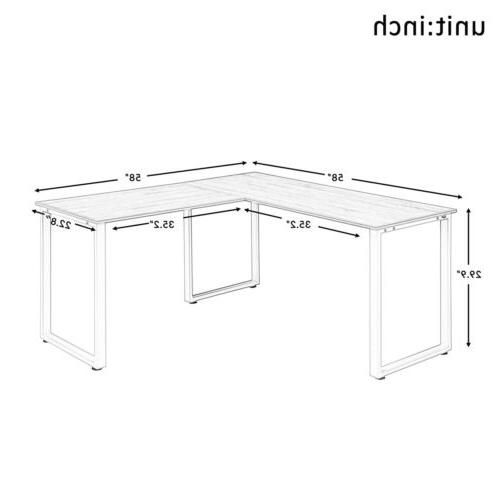 Office Home L-Shaped Computer PC Table Gaming Workstation